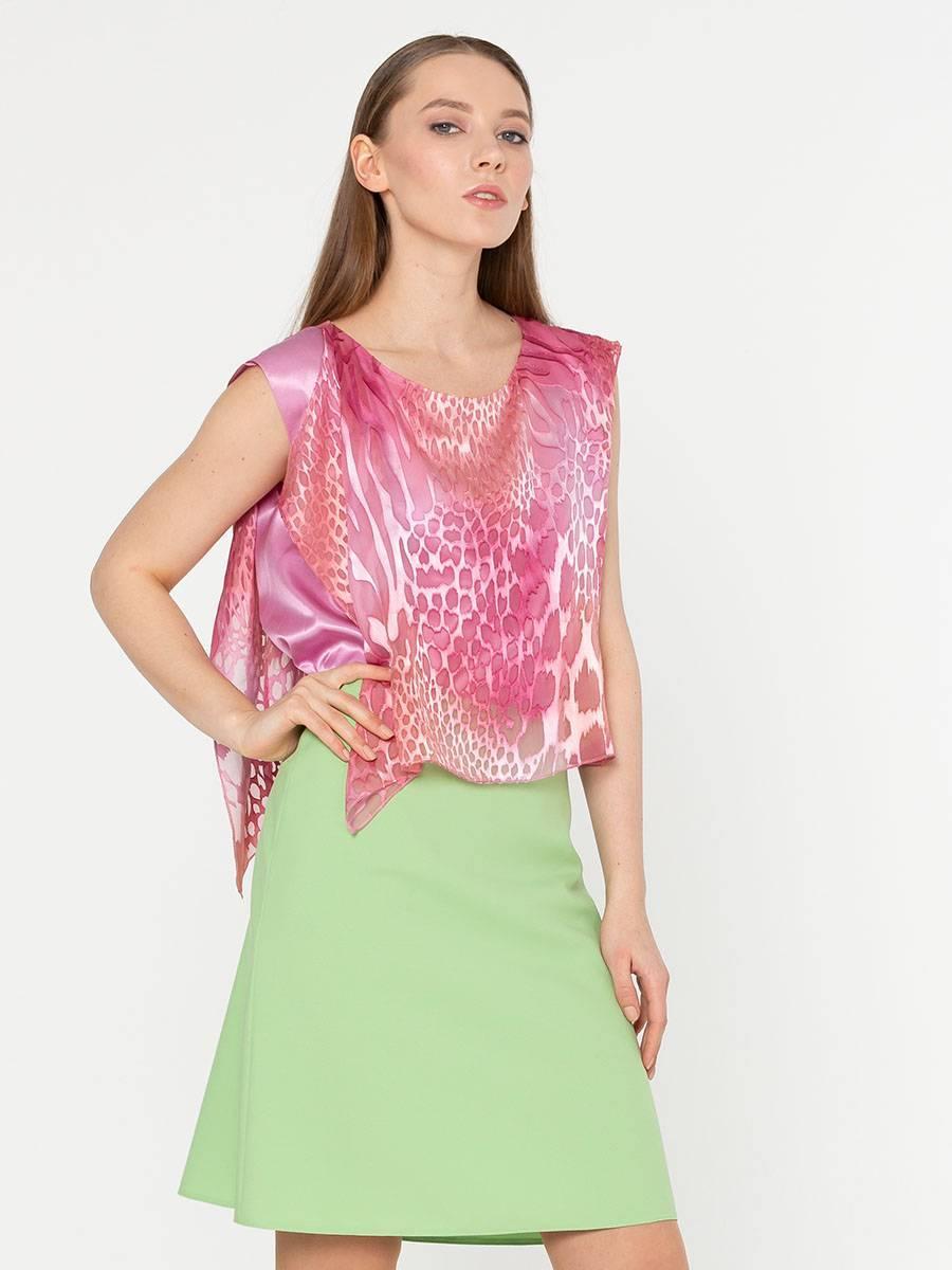 Блуза Г561-308 - Двойная блуза с асимметричной линией низа. Можно носить как на выпуск, так и заправляя внутренний слой в юбку. В этом варианте будет эффект кроп-топа.