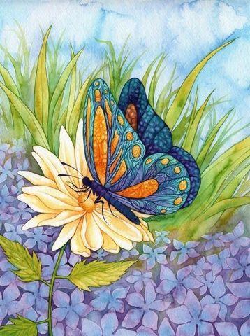 Картина раскраска по номерам 30x40 Бабочка на цветке