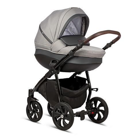 Коляска TUTIS NANNI 3в1 2019 надувные колеса, Серый+Кожа Тем.Серый