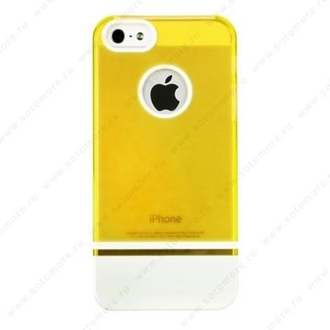 Накладка MOBILE 7 для iPhone SE/ 5s/ 5C/ 5 оранжевый верх белый низ