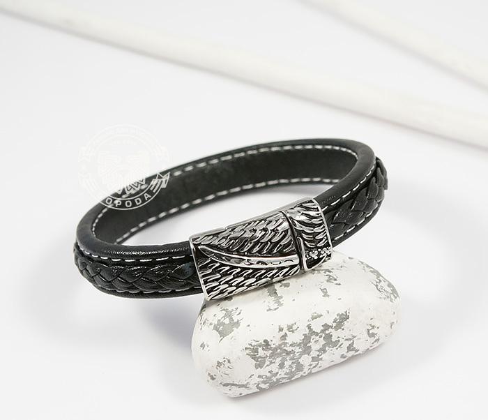 BM399 Стильный мужской браслет из кожи черного цвета и стали (21,5 см) фото 04
