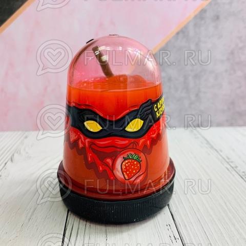 Слайм-лизун Slime Ninja надувающийся, с трубочкой, цвет: красный с запахом клубники