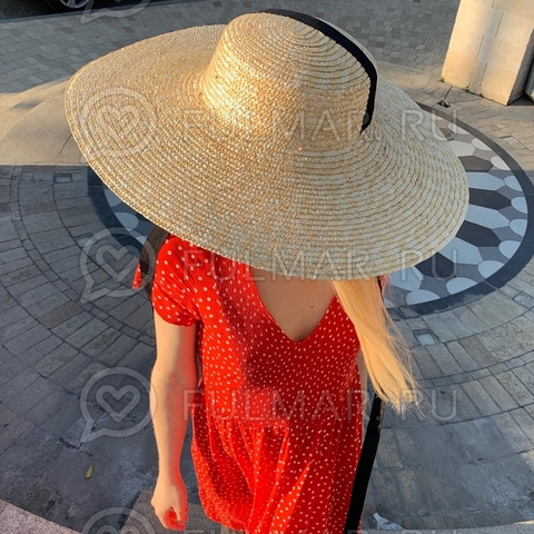 Большая оригинальная шляпа с длинными чёрными лентами женская летняя