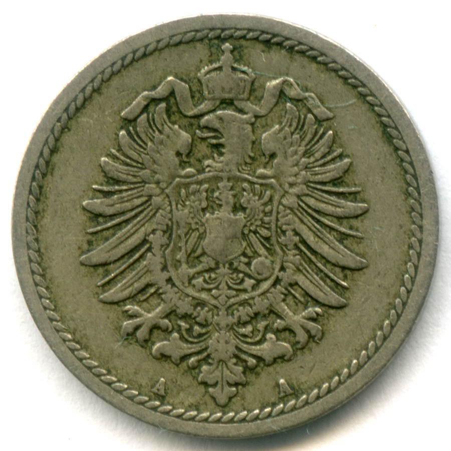 5 пфеннигов 1889 A Германия М-н VF-XF