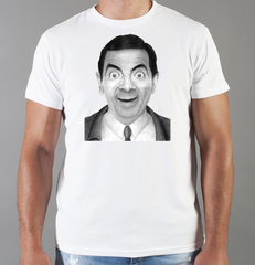 Футболка с принтом Мистер Бин (Mr. Bean, Роуэн Аткинсон) белая 005