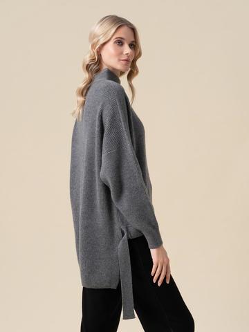 Женский свитер темно-серого цвета из 100% кашемира - фото 4