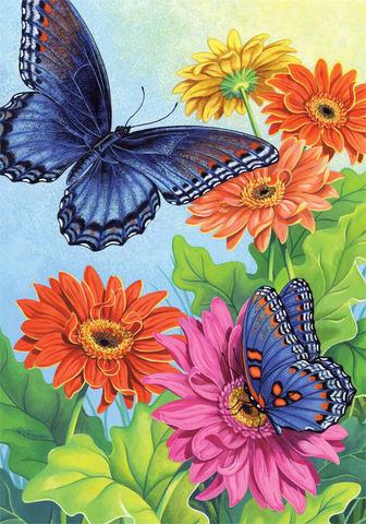 Картина раскраска по номерам 30x40 Бабочки на разноцветных цветах
