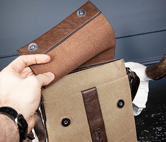 BAG561-2 Небольшая сумка на плечо из ткани и кожи фото 04