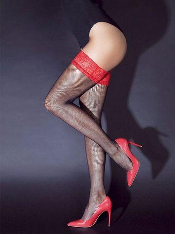Сексуальные черные чулки в сетку с красной резинкой