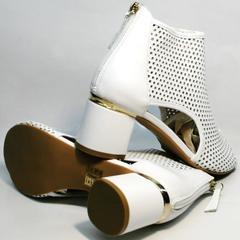 Кожаные ботильоны босоножки на толстом каблуке Magnolya 3503 56-3 SummerWhite