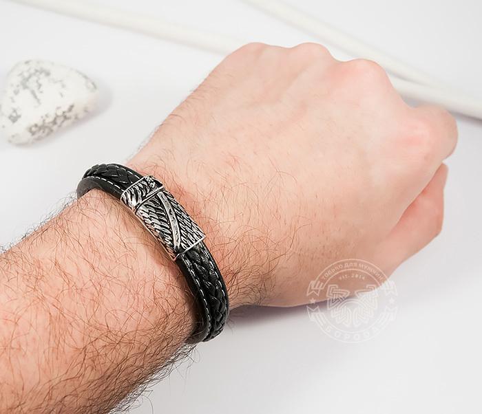 BM399 Стильный мужской браслет из кожи черного цвета и стали (21,5 см) фото 06