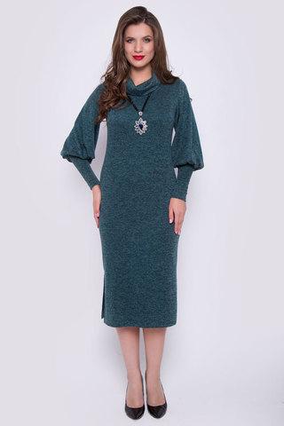 """<p>Это платье создано для эффектных и уверенных в себе женщин. Мягкая структура ткани отлично сочетается с выбранным фасоном. Прямой силуэт и пышные рукава на высоком манжете удачно подчеркнут Вашу безупречную фигуру. Ворот """"хомут"""", по бокам разрезы. Длина платья 115 см</p>"""