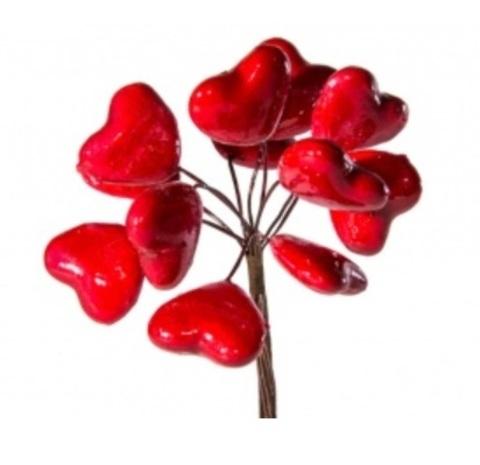 Набор сердец на вставках 12шт., размер: D2,7x2,5xL12см, цвет: красный