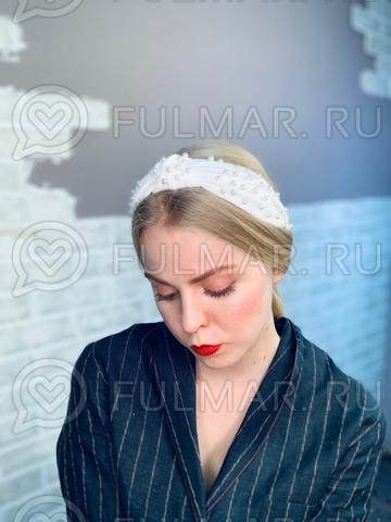 Белый Ободок чалма для волос с искусственным жемчугом