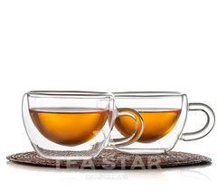 Чашки с двойными стенками, стеклянные, 2 штуки, 180 мл