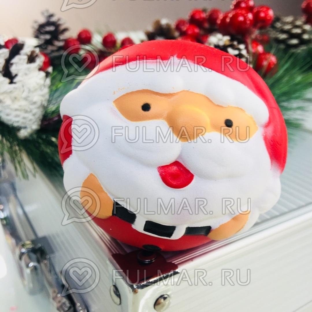 Дед Мороз круглый новогодняя сквиши игрушка антистресс (диаметр 8 см) фото