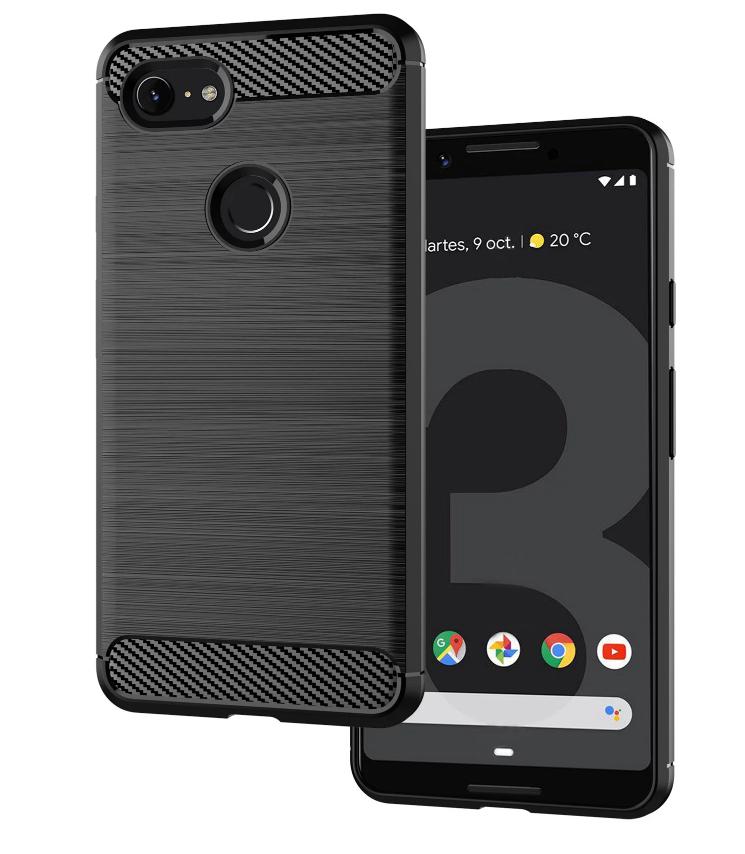 Чехол Google Pixel 3 цвет Black (черный), серия Carbon, Caseport