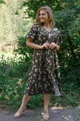 Илона. Красивое платье больших размеров. Цветы олива.