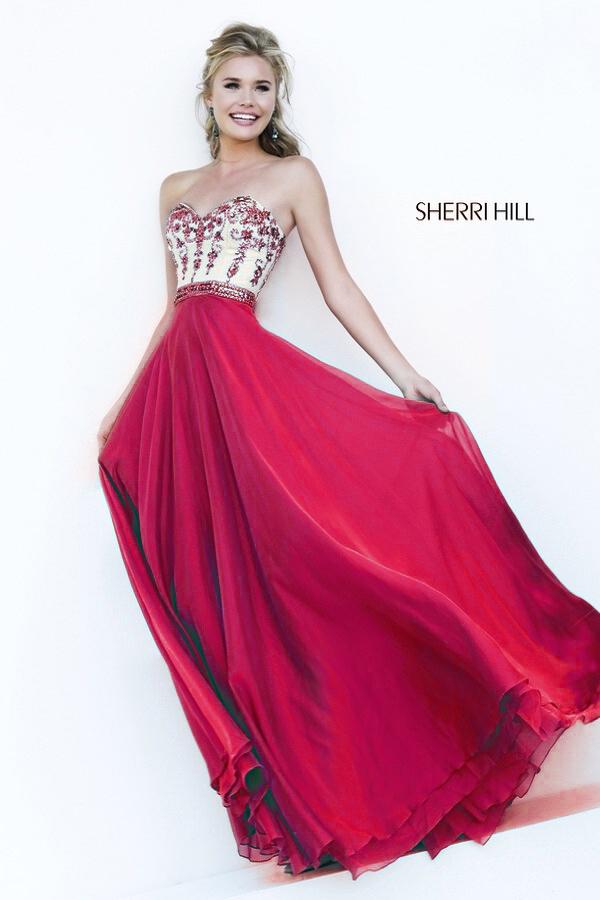 Sherri Hill Красивое бордовое платье, с расшитым камнями лифом и струящейся, пышной юбкой в пол