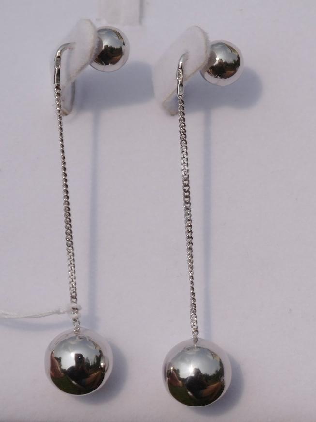 Протяжки с  шариками  (серьги из серебра)