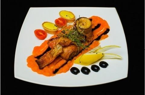 Морський окунь з апельсиново-морквяним Мусомі