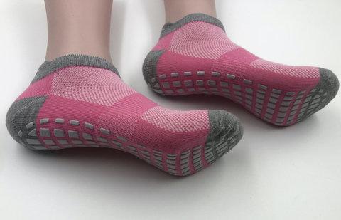 Нескользящие носки (р. 38-42, роз-серые) - Усиленные, для йоги, батута, фитнеса