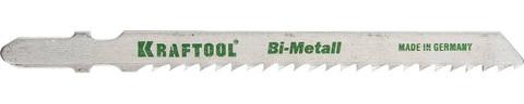 Полотна KRAFTOOL, T127DF, для эл/лобзика, Bi-Metall, по мягкому металлу (3-15мм), EU-хвост., шаг 3мм, 75мм, 2шт