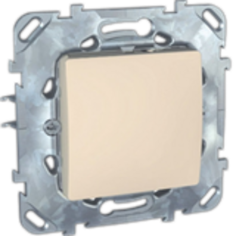Выключатель кнопочный одноклавишный - Кнопка звонка - Выключатель без фиксации. Цвет Бежевый. Schneider electric Unica. MGU5.206.25ZD