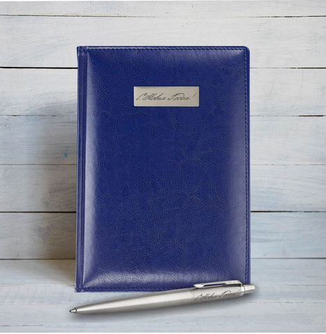 Набор с гравировкой: Ежедневник недатированный и Шариковая ручка Parker Jotter Essential, St. Steel СT