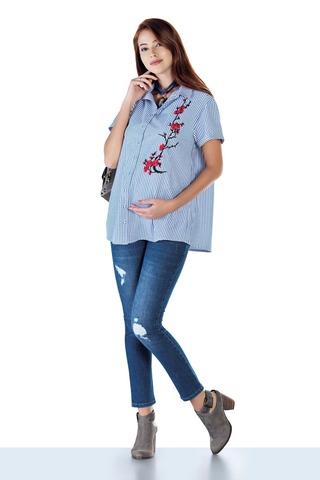 Рубашка для беременных 10432 голубой
