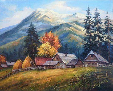 Картина раскраска по номерам 30x40 Домики в горах