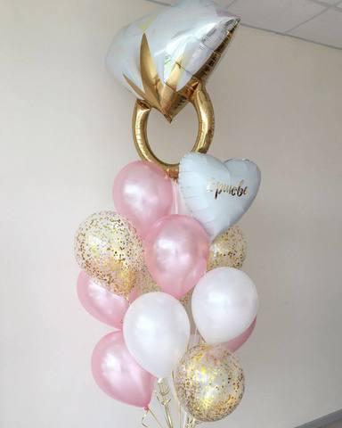 шар кольцо, шары с конфетти, воздушные шары, шары с гелием, букет из шаров, доставка шаров.