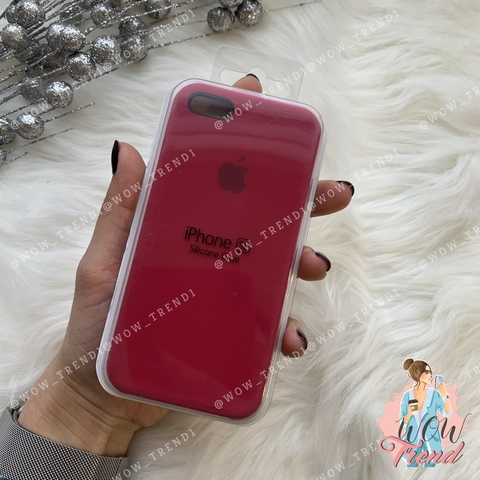 Чехол iPhone 5/5s/SE Silicone Case /rose red/ малиновый 1:1