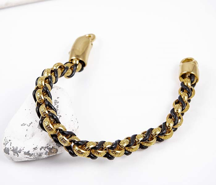 BM491-2 Браслет цепь золотого цвета с кожаным шнуром фото 02