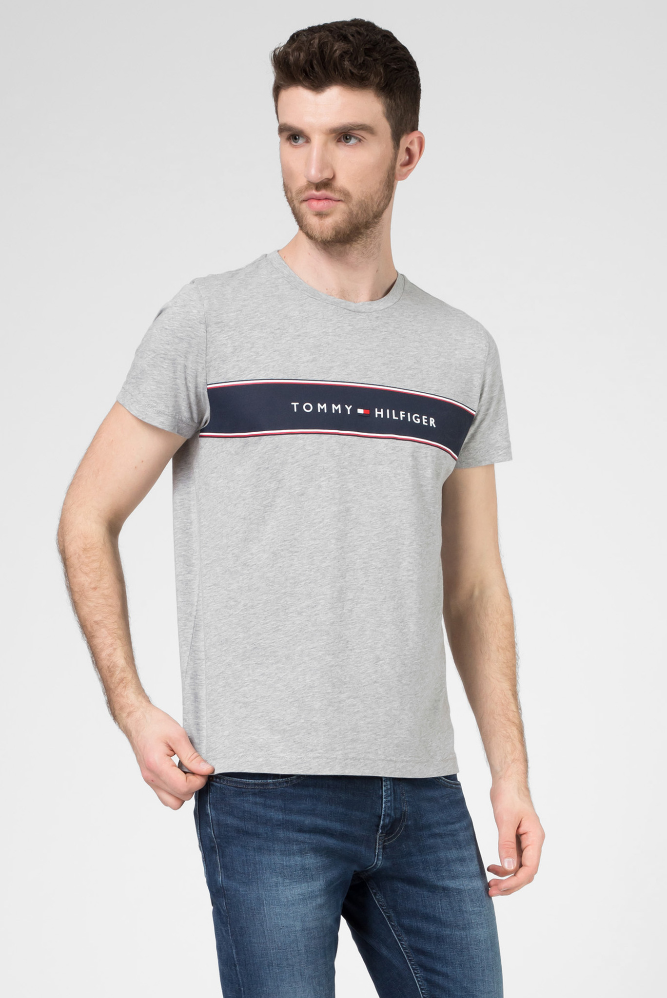 Мужская серая футболка LOGO CHEST STRIPE Tommy Hilfiger