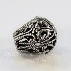 Винтажный элемент - бусина грушевидная филигранная 13х12 мм (оксид серебра)