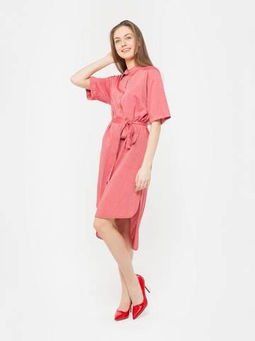 Фото розовое платье-рубашка с поясом и ассиметричным низом - Платье З201-576 (1)