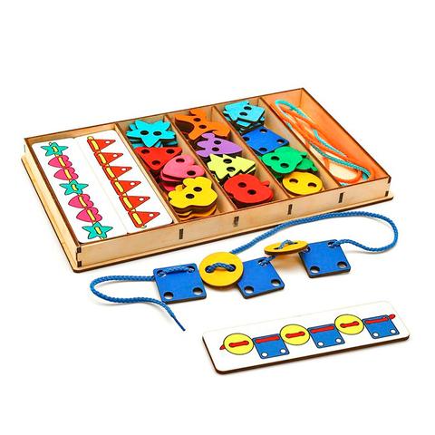 Большой шнуровальный набор (72 детали + плашки-повторяшки), Smile decor Ш004