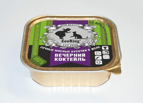 Консервированный полнорационный корм для кошек (кусочки в желе)  Вечерний коктейль 100г