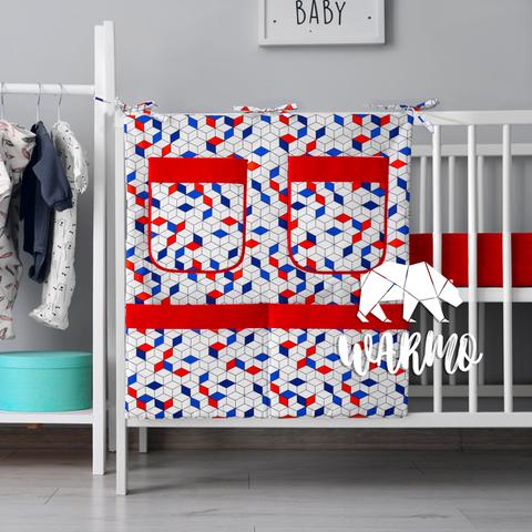 органайзер для ліжечка з синіми і червоними фігурами фото