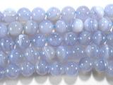 Нить бусин из халцедона голубого, шар гладкий 12мм