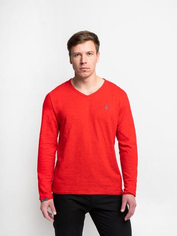 Long-sleeved V-neck scarlet t-shirt