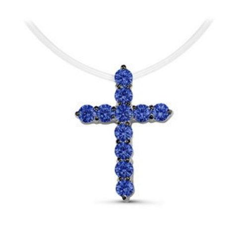 Маленький крестик с сапфировыми цирконами на леске-невидимке