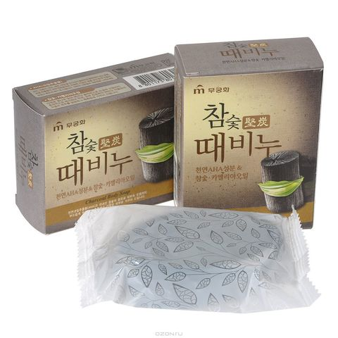 MUKUNGHWA Soap Мыло-скраб древесный уголь, 100 гр Hardwood Charcoal Scrub Soap 100g