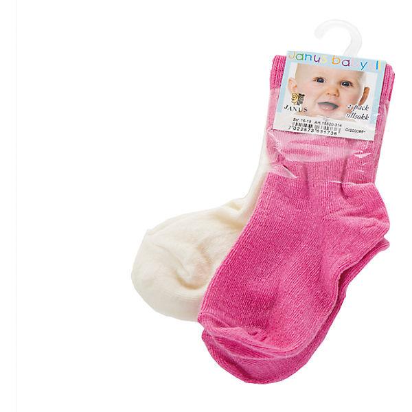 Janus, Носки тонкие, 2 пары, розовый/молочный
