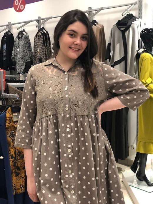 D Платье L&N 9982 рубашка шитье горошек (В20)
