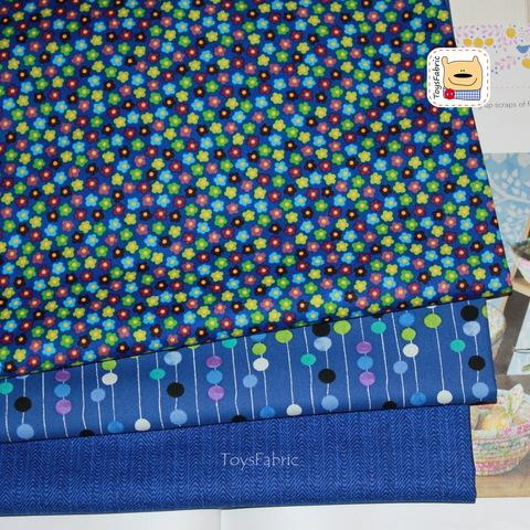 Набор тканей для пэчворка 51793 Синие цветы (45х35см/3шт.)