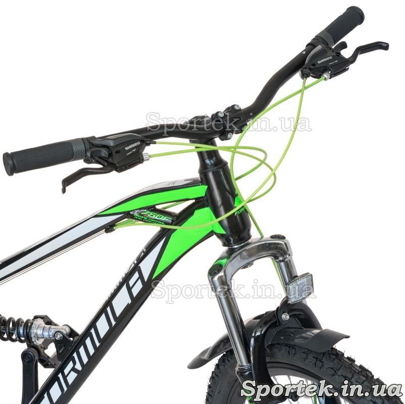 Кермо, манетки і амортизаційна вилка гірського універсального велосипеда Formula Blaze DD