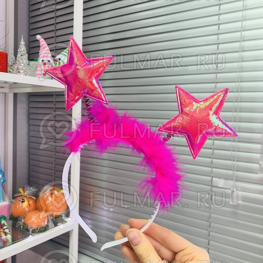 Карнавальный ободок на голову новогодний Звёздочки на пружинках цвет: малиновый фото