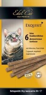 Лакомство для кошек Edel Cat Колбаски курица, индейка, дрожжи купить с доставкой в интернет-магазине зоогастроном.ру